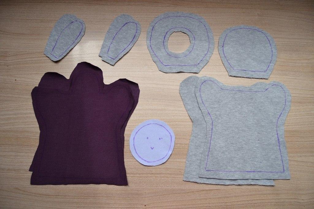 Pièces de tissu découpées